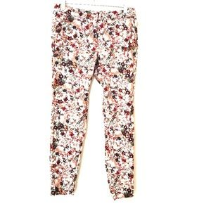 Zara floral print cropped pants with tapered legs